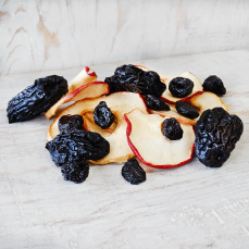 Dried pitted prunes, apples and black cherries